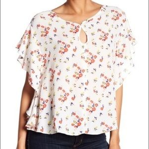 Max Edition Floral Print Ruffle Sleeve Blouse M